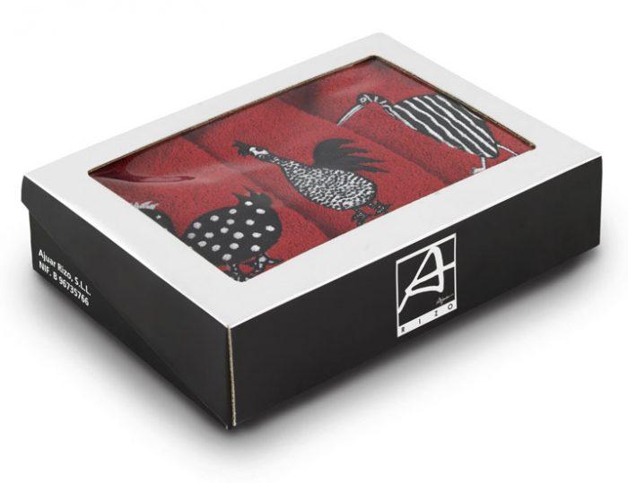 Caja de paños de cocina bordados
